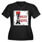 Roller Grrrl Leggy Women's Plus Size V-Neck Dark T