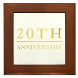 20th Anniversary Gold Shadowed Framed Tile