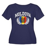 Moldova Women's Plus Size Scoop Neck Dark T-Shirt