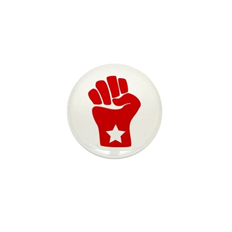 Mini Red Fist Solidarity Button