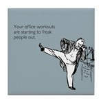 Office Workouts Tile Coaster