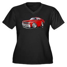 Duster Red-Black Car Women's Plus Size V-Neck Dark