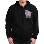 Bert the Hippo Zip Hoodie (dark)