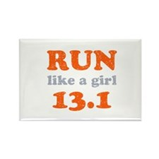 Run like a girl 13.1 Rectangle Magnet (100 pack)