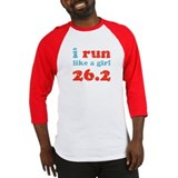i run like a girl 26.2 Baseball Jersey