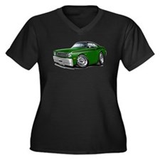 Duster Green-Black Top Car Women's Plus Size V-Nec