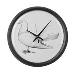 Flying Oriental Roller Pigeon Large Wall Clock