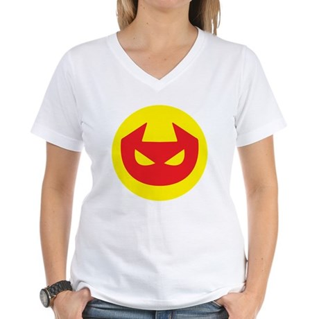 Simple Devil Icon Women's V-Neck T-Shirt