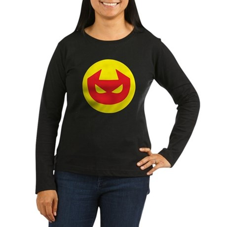 Simple Devil Icon Women's Long Sleeve Dark T-Shirt
