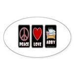 Peace Love Abby Sticker (Oval 10 pk)