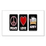 Peace Love Abby Sticker (Rectangle)