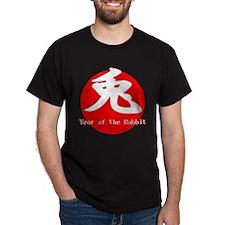 Red Rabbit Black T-Shirt