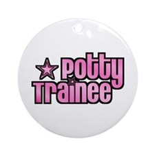 Potty Trainee Pink Girl Ornament (Round)