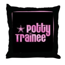 Potty Trainee Pink Girl Throw Pillow