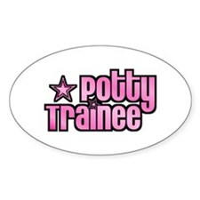 Potty Trainee Pink Girl Oval Decal
