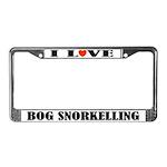 I Love Bog Snorkelling License Plate Frame