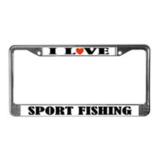 I Love Sport Fishing License Plate Frame