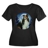 Winter Sheltie Women's Plus Size Scoop Neck Dark T