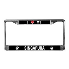 I Love My Singapura Cat License Plate Frame