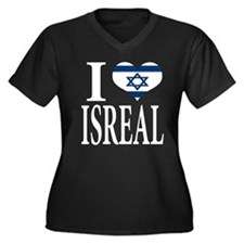 I love Isreal Women's Plus Size V-Neck Dark T-Shir