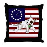 Patriot Am Staf Pup Throw Pillow