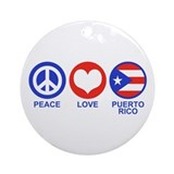 Peace Love Puerto Rico Ornament (Round)