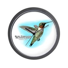 Ruby-Throated Hummingbird Wall Clock
