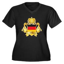 Gold Deutschland Women's Plus Size V-Neck Dark T-S
