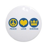 Peace Love Sverige Ornament (Round)