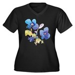 Watercolor Flowers Women's Plus Size V-Neck Dark T