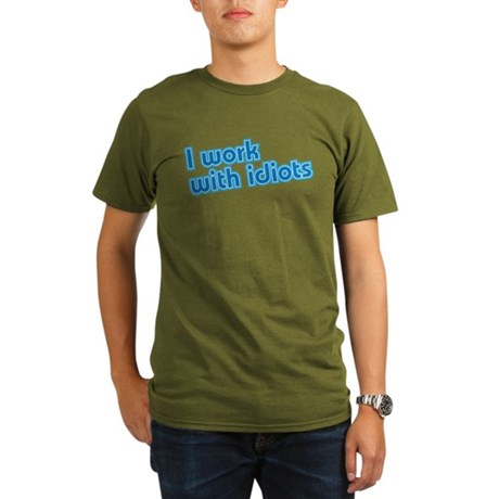 I work with idiots Organic Men's T-Shirt (dark)