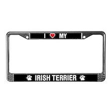 I Love My Irish Terrier License Plate Frame