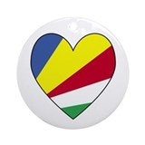 Seychelles Flag Heart Shaped Ornament (Round)