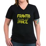 Frants rhymes with Pance Women's V-Neck Dark T-Shi