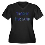 Trophy Husband Women's Plus Size V-Neck Dark T-Shi