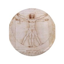 "Vitruvian Man by Leonardo 3.5"" Button (100 pack)"