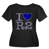 I Heart R2 Women's Plus Size Scoop Neck Dark T-Shi