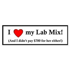 I Love my Lab Mix Bumper Sticker (female)