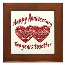 Funny Second anniversary Framed Tile