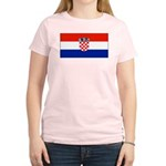 Croatia Blank Flag Women's Pink T-Shirt