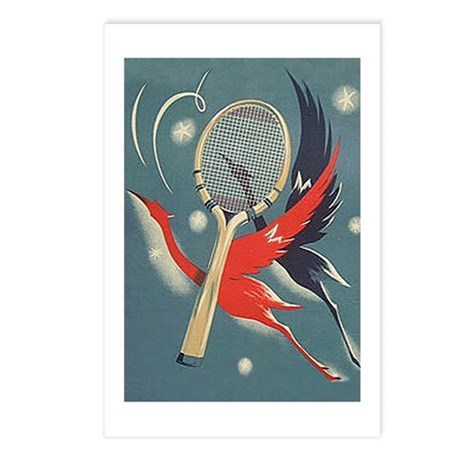 Deco Bird & Racket - Tennis Postcards (Pk of 8