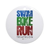 Swim, Bike, Run - Triathlon Round Ornament