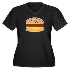 Hamburger Women's Plus Size V-Neck Dark T-Shirt