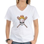 Skull Baseball Women's V-Neck T-Shirt