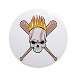 Skull Baseball Ornament (Round)
