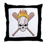 Skull Baseball Throw Pillow