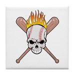 Skull Baseball Tile Coaster