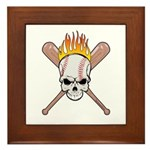 Skull Baseball Framed Tile