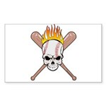 Skull Baseball Sticker (Rectangle 10 pk)