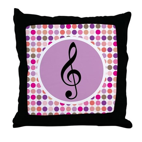 Treble Clef Mod Music Throw Pillow